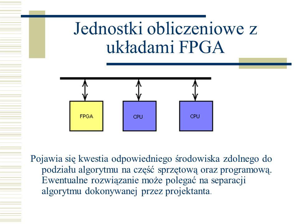 Jednostki obliczeniowe z układami FPGA Pojawia się kwestia odpowiedniego środowiska zdolnego do podziału algorytmu na część sprzętową oraz programową.