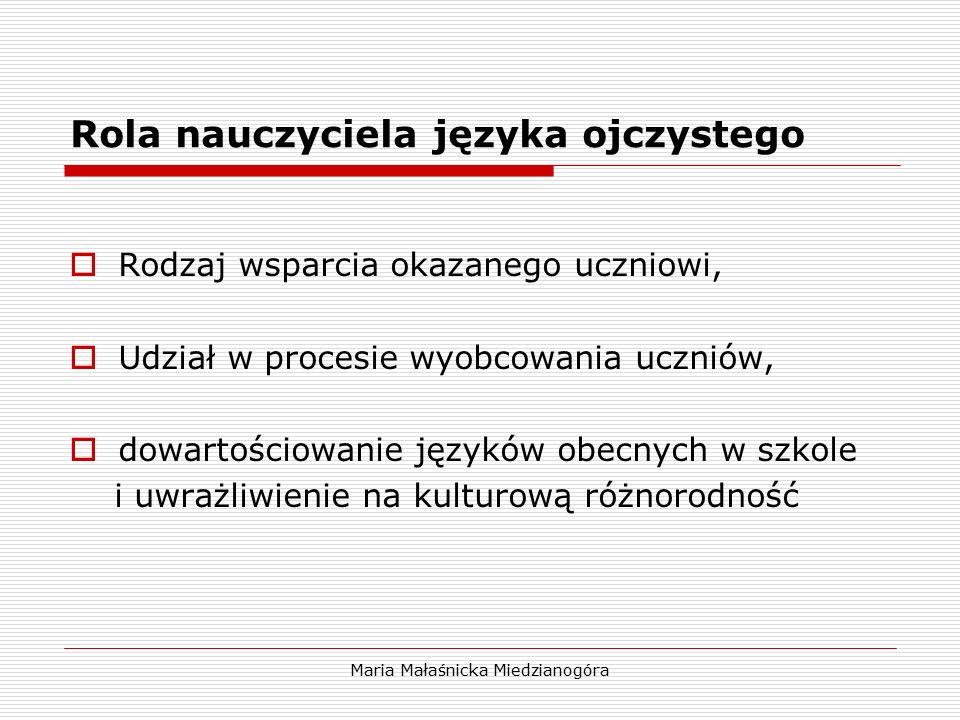Maria Małaśnicka Miedzianogóra Rola nauczyciela języka ojczystego  Rodzaj wsparcia okazanego uczniowi,  Udział w procesie wyobcowania uczniów,  dow