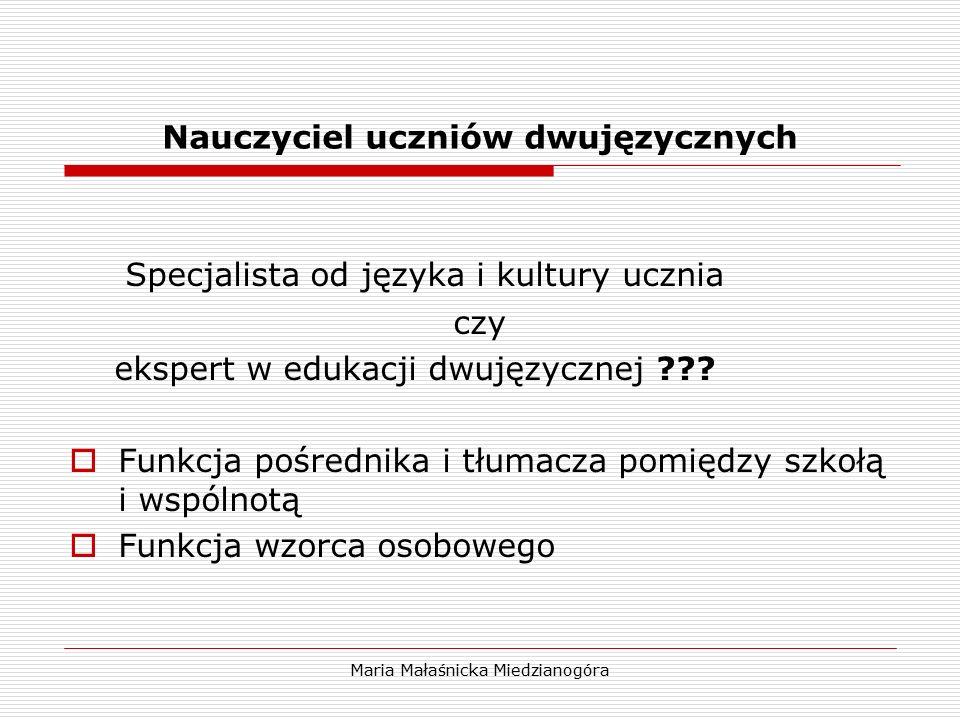 Maria Małaśnicka Miedzianogóra Nauczyciel uczniów dwujęzycznych Specjalista od języka i kultury ucznia czy ekspert w edukacji dwujęzycznej ???  Funkc