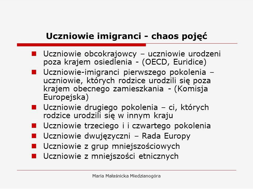 Maria Małaśnicka Miedzianogóra Uczniowie imigranci - chaos pojęć Uczniowie obcokrajowcy – uczniowie urodzeni poza krajem osiedlenia - (OECD, Euridice)