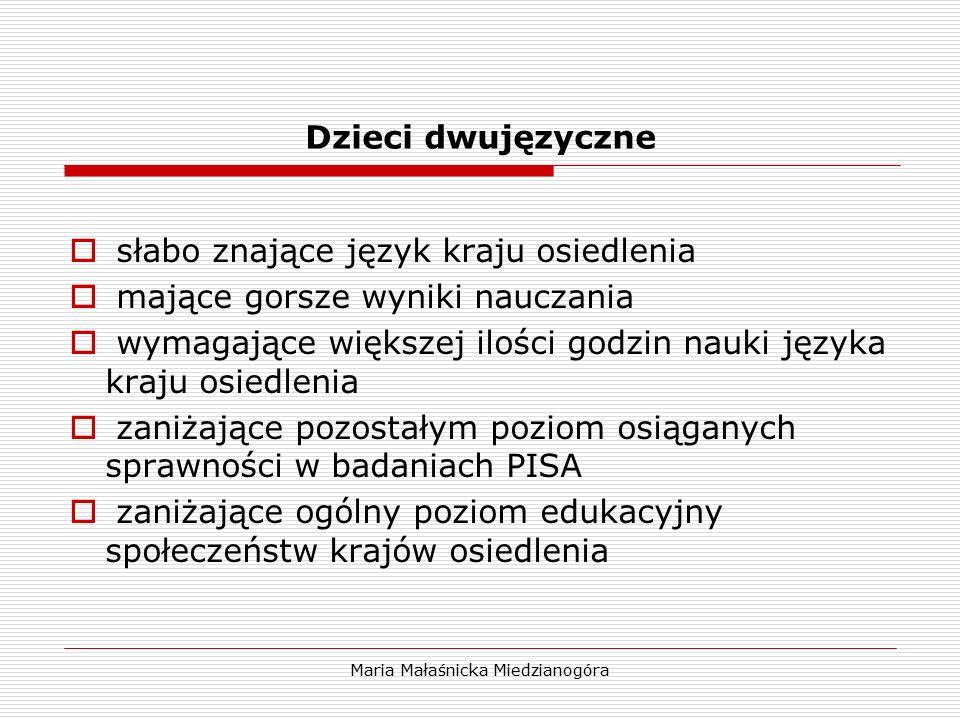 Maria Małaśnicka Miedzianogóra Dzieci dwujęzyczne  słabo znające język kraju osiedlenia  mające gorsze wyniki nauczania  wymagające większej ilości