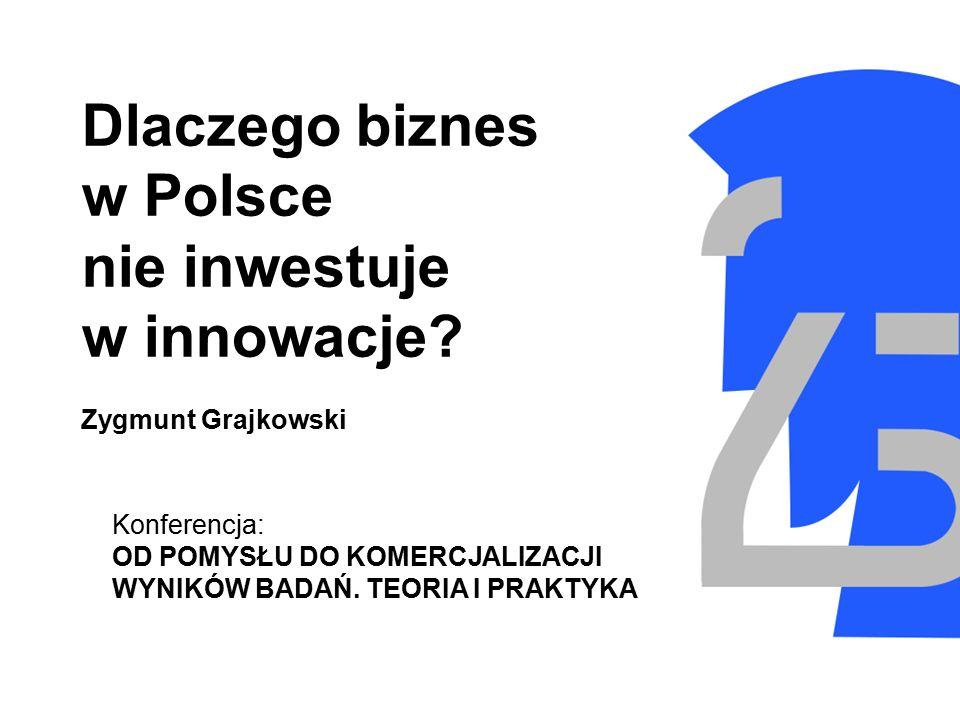 Dlaczego biznes w Polsce nie inwestuje w innowacje? Zygmunt Grajkowski Konferencja: OD POMYSŁU DO KOMERCJALIZACJI WYNIKÓW BADAŃ. TEORIA I PRAKTYKA