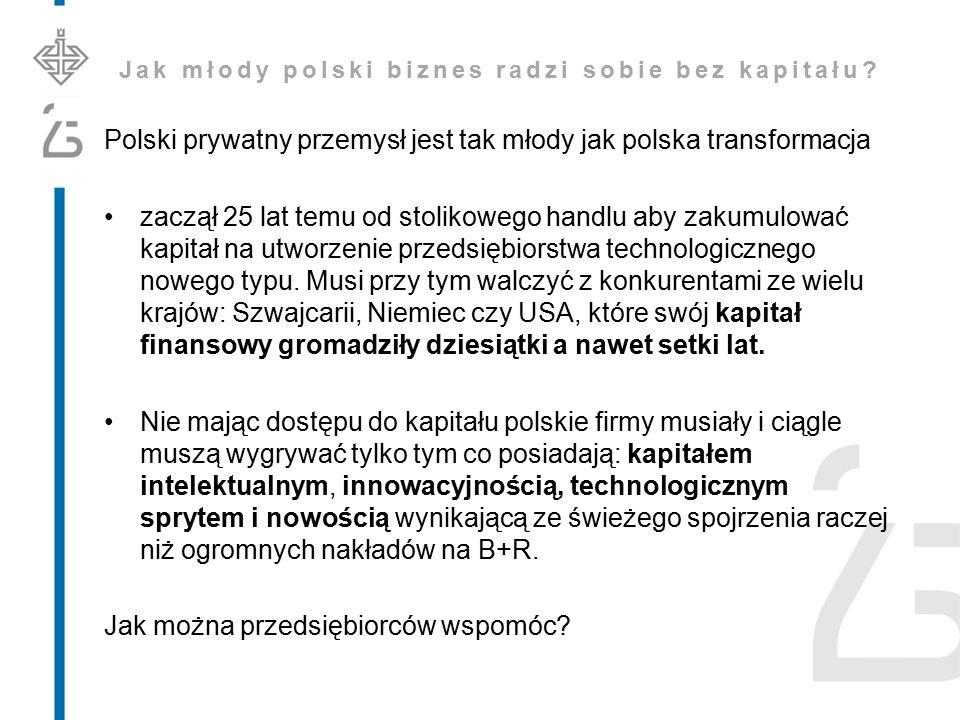 Jak młody polski biznes radzi sobie bez kapitału? Polski prywatny przemysł jest tak młody jak polska transformacja zaczął 25 lat temu od stolikowego h