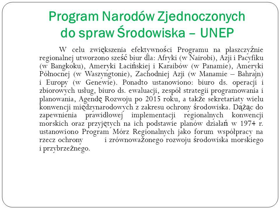 Program Narodów Zjednoczonych do spraw Środowiska – UNEP W celu zwi ę kszenia efektywno ś ci Programu na płaszczy ź nie regionalnej utworzono sze ść b