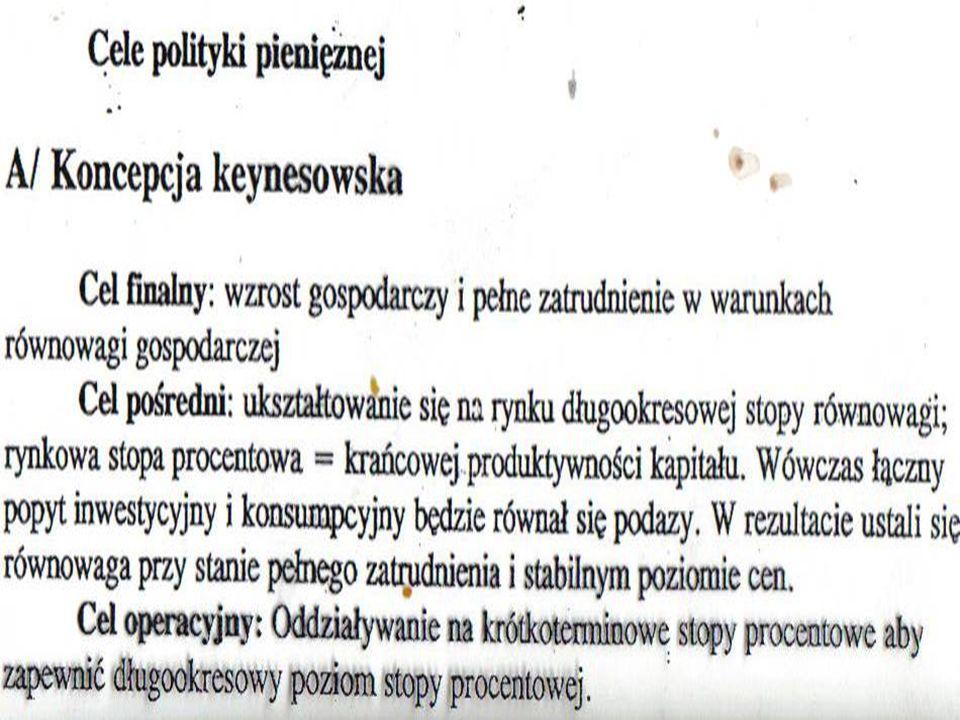  Instrumenty bezpośrednie BC  Stopa procentowa (podstawowa)  Stopa rezerw obowiązkowych  Ew.limity (pułapy) kredytowe  Inne ograniczenia (współczynniki płynności)  Bazylea II, III  Instrumenty pośrednie  Operacje otwartego rynku  Kształtowanie stopy międzybankowej  (w Polsce WIBOR, WIBID)  Stopa lombardowa  Stopa redyskontowa  Stopa depozytowa BC  Kredyt techniczny