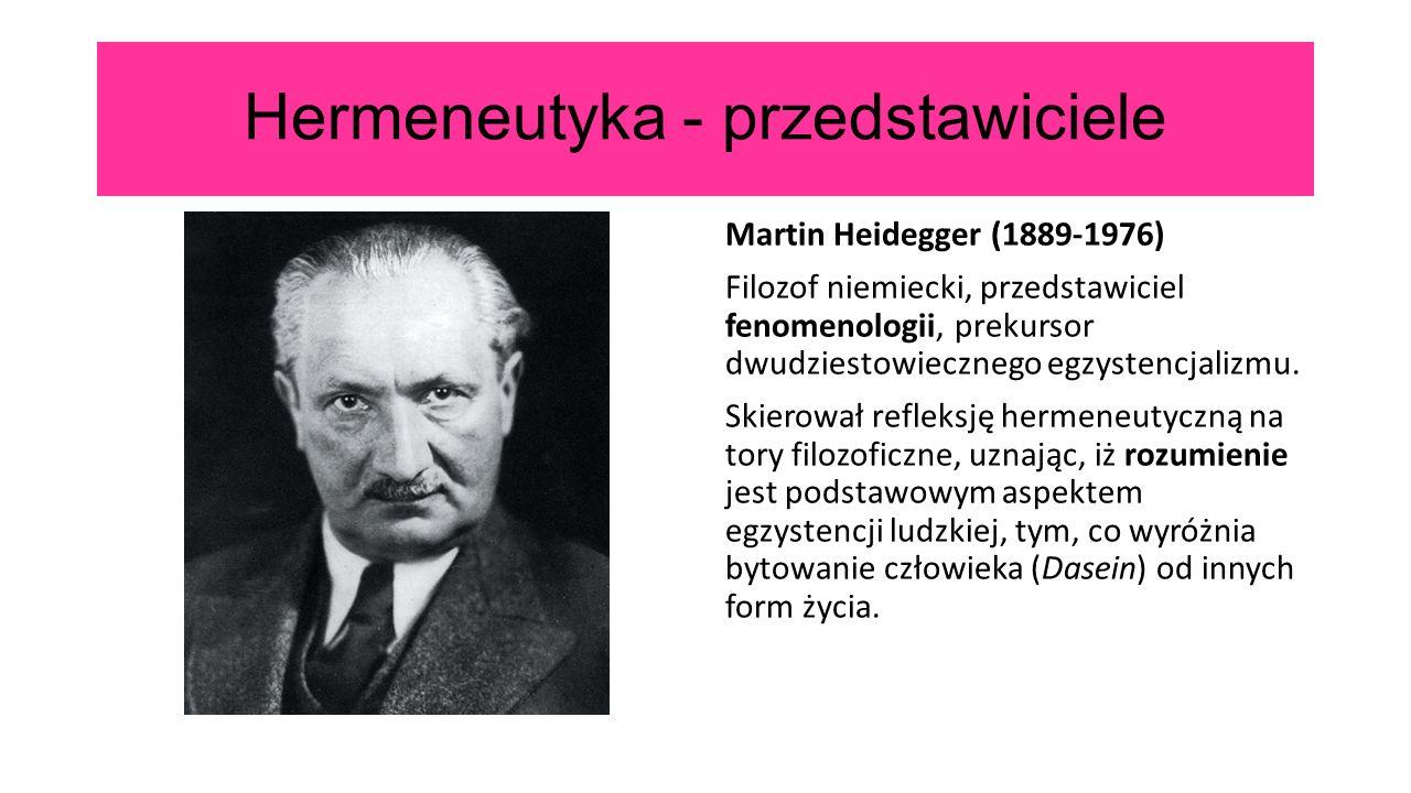 Hermeneutyka - przedstawiciele Martin Heidegger (1889-1976) Filozof niemiecki, przedstawiciel fenomenologii, prekursor dwudziestowiecznego egzystencja