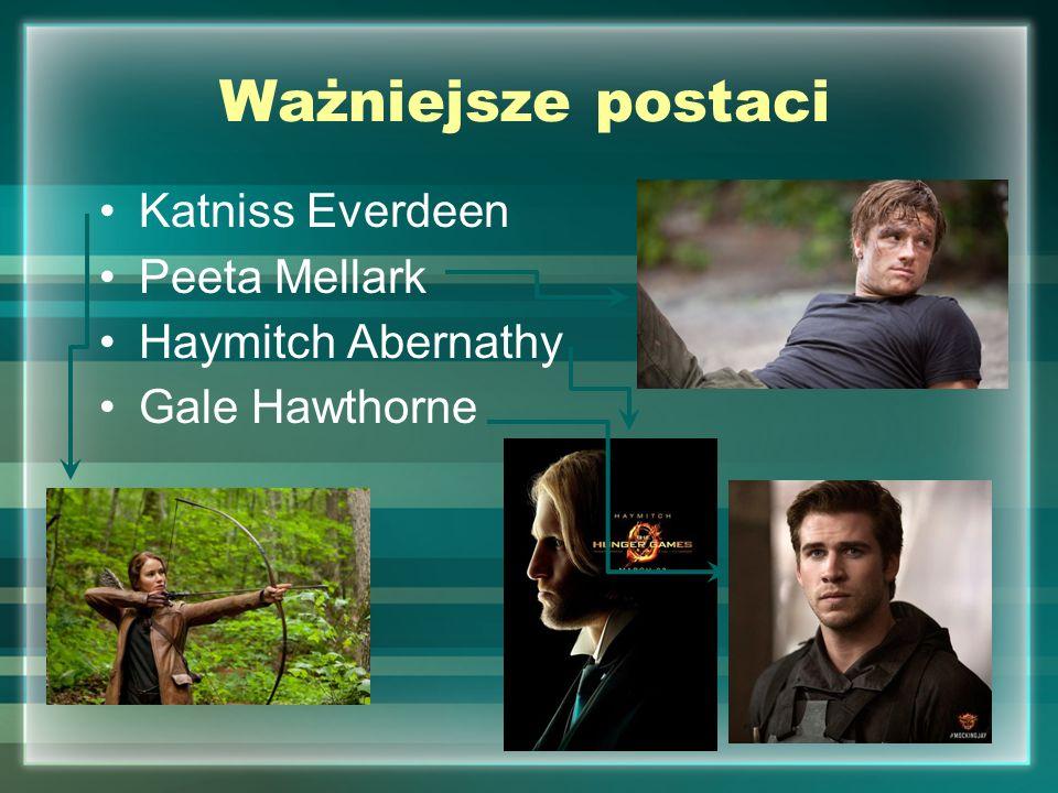 Ważniejsze postaci Katniss Everdeen Peeta Mellark Haymitch Abernathy Gale Hawthorne