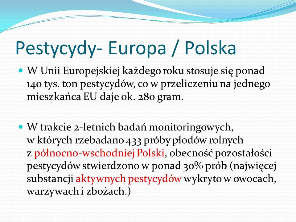 Pestycydy- Europa / Polska W Unii Europejskiej każdego roku stosuje się ponad 140 tys.