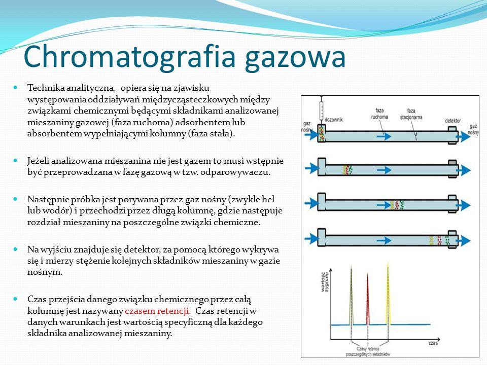 Chromatografia gazowa Technika analityczna, opiera się na zjawisku występowania oddziaływań międzycząsteczkowych między związkami chemicznymi będącymi składnikami analizowanej mieszaniny gazowej (faza ruchoma) adsorbentem lub absorbentem wypełniającymi kolumny (faza stała).