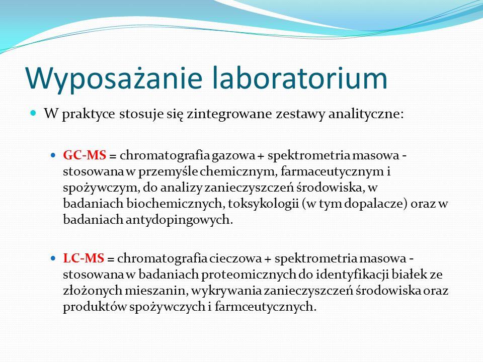 Wyposażanie laboratorium W praktyce stosuje się zintegrowane zestawy analityczne: GC-MS = chromatografia gazowa + spektrometria masowa - stosowana w przemyśle chemicznym, farmaceutycznym i spożywczym, do analizy zanieczyszczeń środowiska, w badaniach biochemicznych, toksykologii (w tym dopalacze) oraz w badaniach antydopingowych.