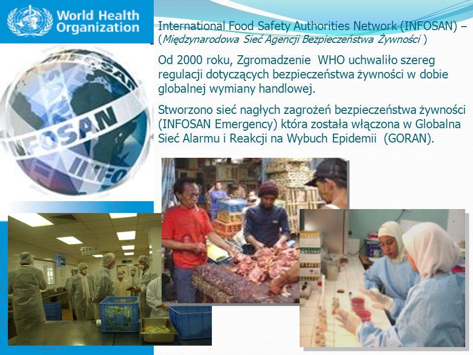 International Food Safety Authorities Network (INFOSAN) – (Międzynarodowa Sieć Agencji Bezpieczeństwa Żywności ) Od 2000 roku, Zgromadzenie WHO uchwaliło szereg regulacji dotyczących bezpieczeństwa żywności w dobie globalnej wymiany handlowej.