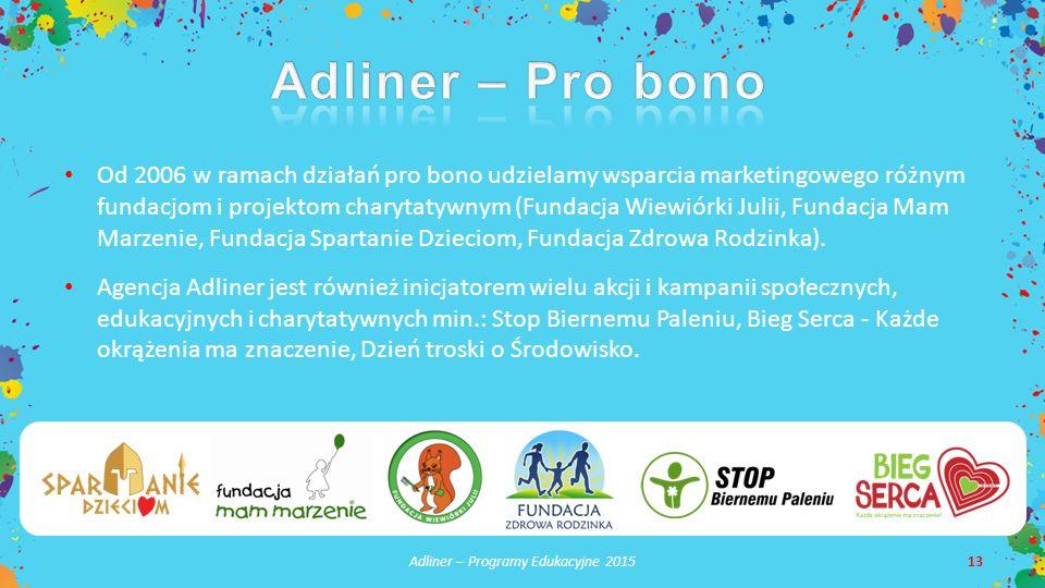 Adliner – Programy Edukacyjne 201513 Od 2006 w ramach działań pro bono udzielamy wsparcia marketingowego różnym fundacjom i projektom charytatywnym (Fundacja Wiewiórki Julii, Fundacja Mam Marzenie, Fundacja Spartanie Dzieciom, Fundacja Zdrowa Rodzinka).