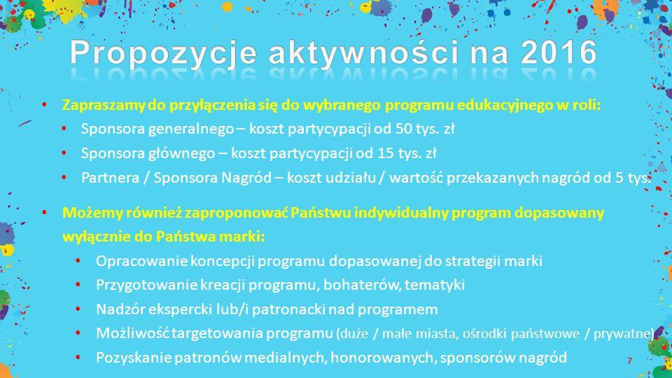 7 Zapraszamy do przyłączenia się do wybranego programu edukacyjnego w roli: Sponsora generalnego – koszt partycypacji od 50 tys. zł Sponsora głównego