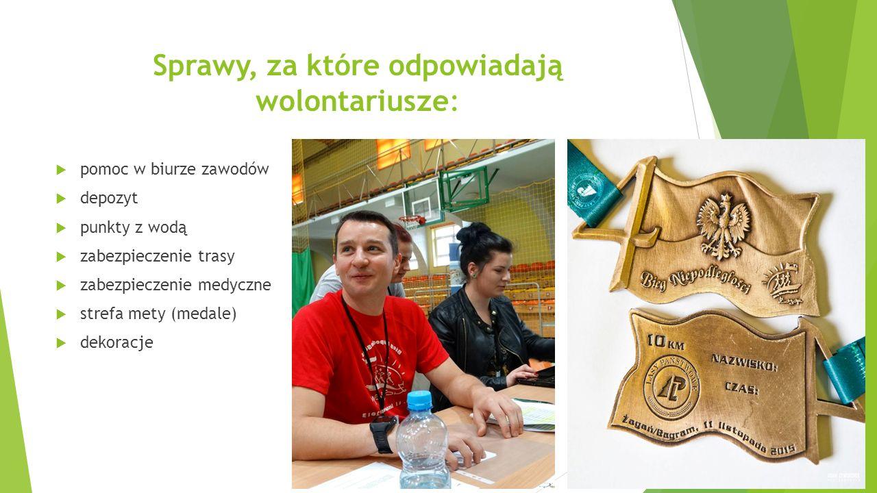 Sprawy, za które odpowiadają wolontariusze:  pomoc w biurze zawodów  depozyt  punkty z wodą  zabezpieczenie trasy  zabezpieczenie medyczne  strefa mety (medale)  dekoracje