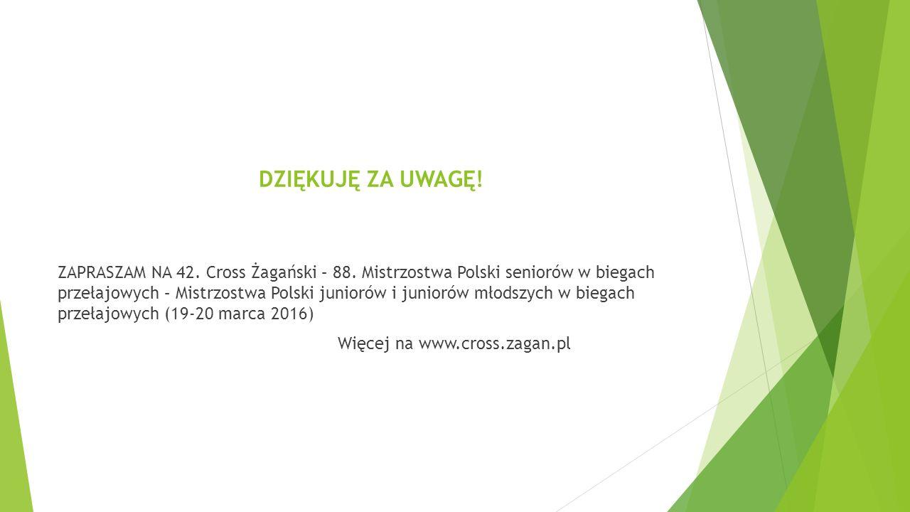 DZIĘKUJĘ ZA UWAGĘ. ZAPRASZAM NA 42. Cross Żagański – 88.