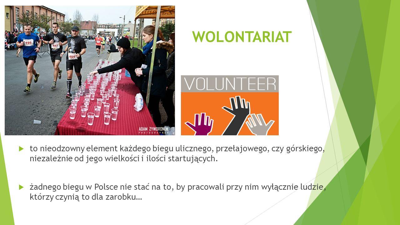 RODZAJE BIEGÓW (podział ze względu na wolontariat)  Biegi tworzone społecznie – pracują przy nich pasjonaci, stowarzyszenia, czyli tak naprawdę wyłącznie wolontariusze.