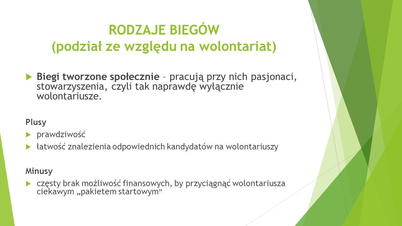 """ Biegi """"samorządowe – organizowane przez władze lokalne, ośrodku sportu i kultury, miejskie spółki."""