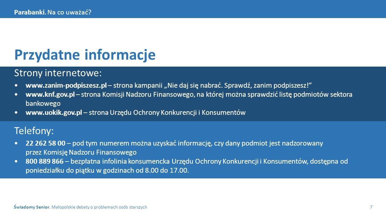 Świadomy Senior. Małopolskie debaty o problemach osób starszych7 Parabanki.
