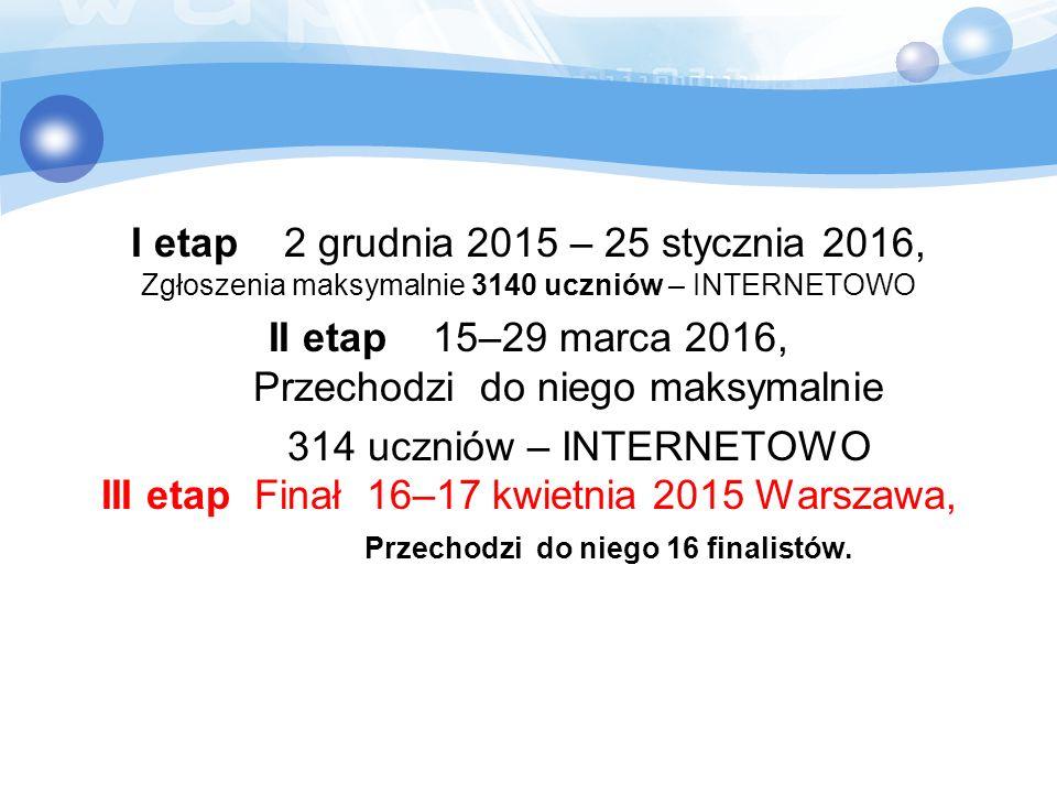 I etap 2 grudnia 2015 – 25 stycznia 2016, Zgłoszenia maksymalnie 3140 uczniów – INTERNETOWO II etap 15–29 marca 2016, Przechodzi do niego maksymalnie
