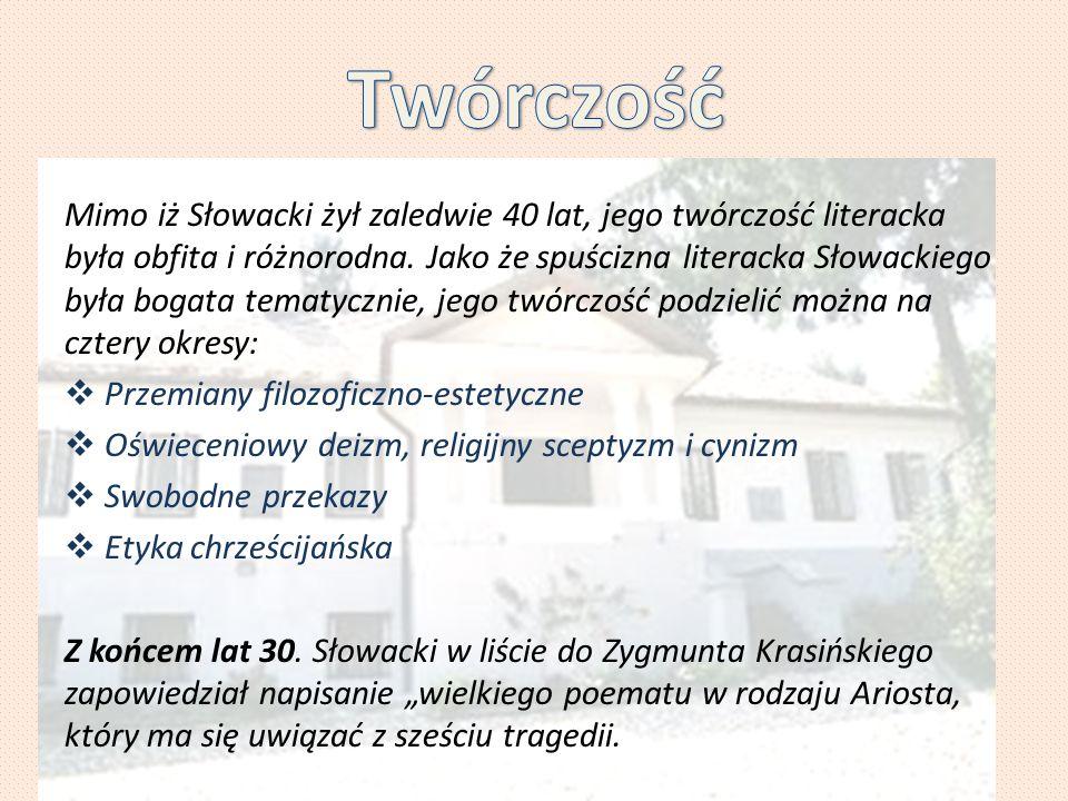 Mimo iż Słowacki żył zaledwie 40 lat, jego twórczość literacka była obfita i różnorodna. Jako że spuścizna literacka Słowackiego była bogata tematyczn