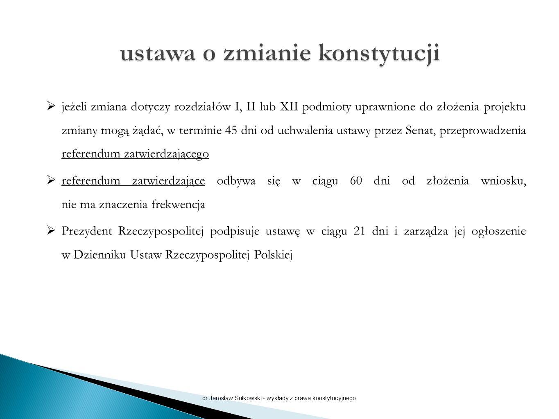  jeżeli zmiana dotyczy rozdziałów I, II lub XII podmioty uprawnione do złożenia projektu zmiany mogą żądać, w terminie 45 dni od uchwalenia ustawy przez Senat, przeprowadzenia referendum zatwierdzającego  referendum zatwierdzające odbywa się w ciągu 60 dni od złożenia wniosku, nie ma znaczenia frekwencja  Prezydent Rzeczypospolitej podpisuje ustawę w ciągu 21 dni i zarządza jej ogłoszenie w Dzienniku Ustaw Rzeczypospolitej Polskiej dr Jarosław Sułkowski - wykłady z prawa konstytucyjnego