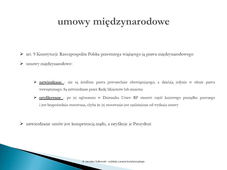  art. 9 Konstytucji: Rzeczpospolita Polska przestrzega wiążącego ją prawa międzynarodowego  umowy międzynarodowe:  zatwierdzane - nie są źródłem pr