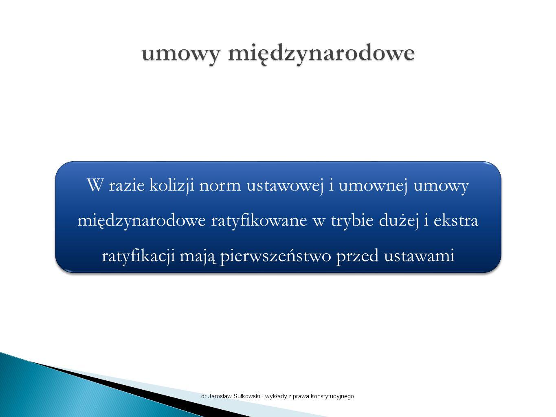 dr Jarosław Sułkowski - wykłady z prawa konstytucyjnego W razie kolizji norm ustawowej i umownej umowy międzynarodowe ratyfikowane w trybie dużej i ekstra ratyfikacji mają pierwszeństwo przed ustawami