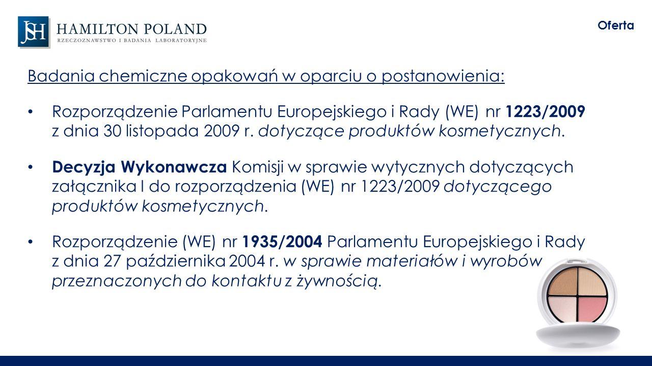Badania chemiczne opakowań w oparciu o postanowienia: Rozporządzenie Parlamentu Europejskiego i Rady (WE) nr 1223/2009 z dnia 30 listopada 2009 r.
