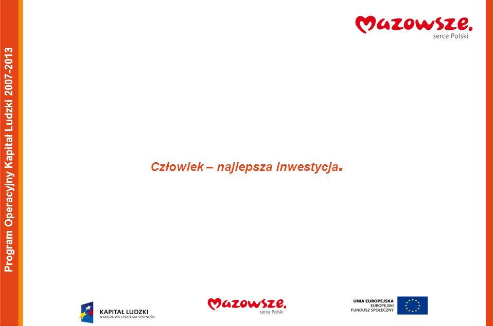 Program Operacyjny Kapitał Ludzki 2007-2013 Człowiek – najlepsza inwestycja.