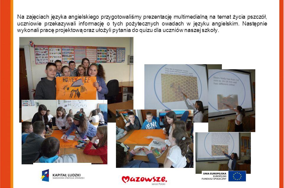 Na zajęciach języka angielskiego przygotowaliśmy prezentację multimedialną na temat życia pszczół, uczniowie przekazywali informację o tych pożytecznych owadach w języku angielskim.