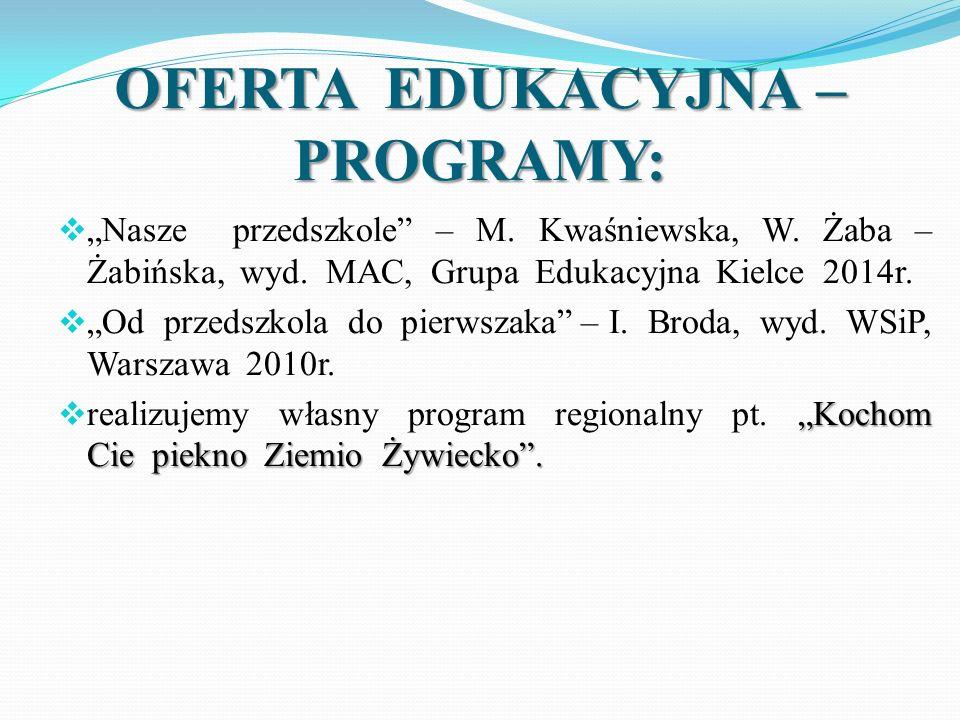 """OFERTA EDUKACYJNA – PROGRAMY:  """"Nasze przedszkole"""" – M. Kwaśniewska, W. Żaba – Żabińska, wyd. MAC, Grupa Edukacyjna Kielce 2014r.  """"Od przedszkola d"""