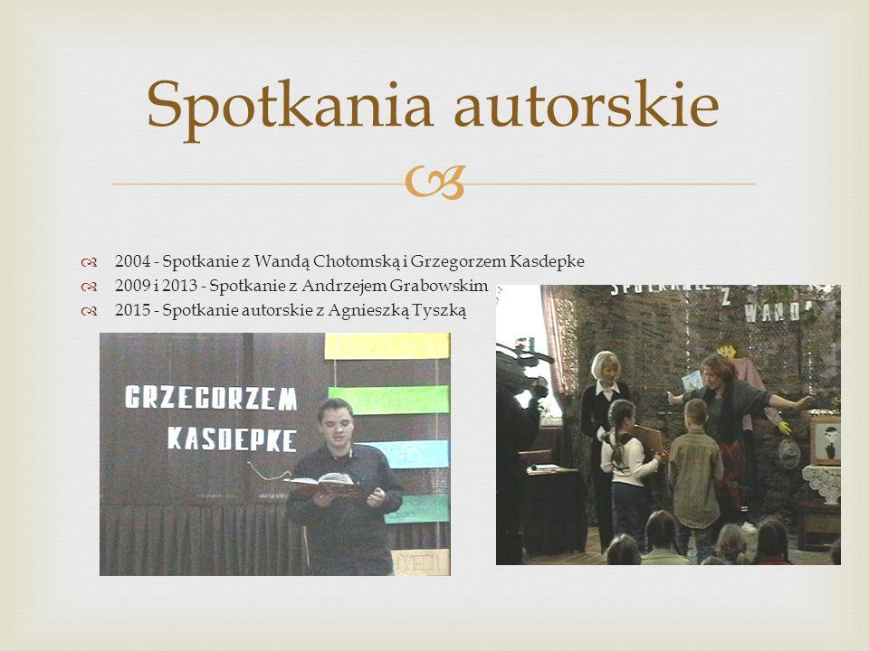  Spotkania autorskie  2004 - Spotkanie z Wandą Chotomską i Grzegorzem Kasdepke  2009 i 2013 - Spotkanie z Andrzejem Grabowskim  2015 - Spotkanie a