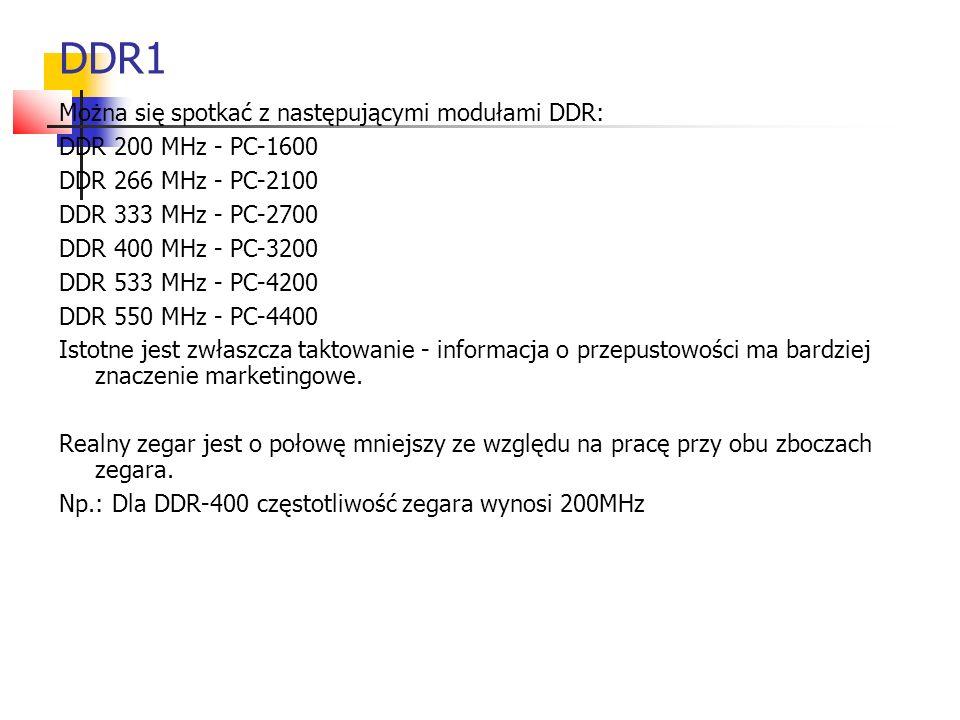 DDR1 Można się spotkać z następującymi modułami DDR: DDR 200 MHz - PC-1600 DDR 266 MHz - PC-2100 DDR 333 MHz - PC-2700 DDR 400 MHz - PC-3200 DDR 533 MHz - PC-4200 DDR 550 MHz - PC-4400 Istotne jest zwłaszcza taktowanie - informacja o przepustowości ma bardziej znaczenie marketingowe.