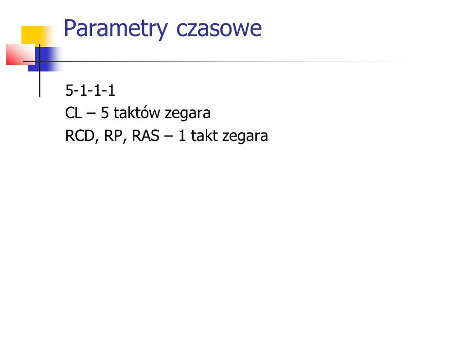 Parametry czasowe 5-1-1-1 CL – 5 taktów zegara RCD, RP, RAS – 1 takt zegara