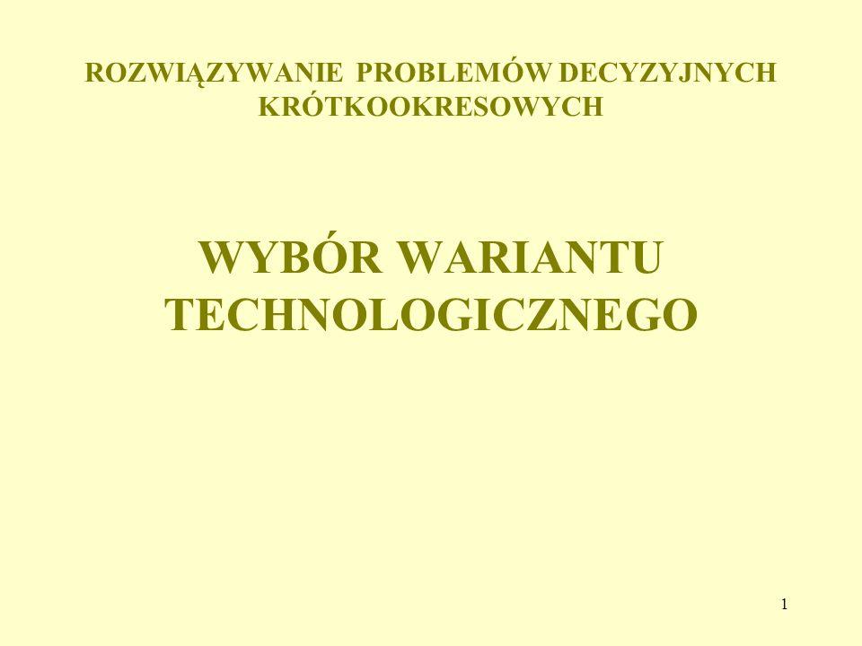 1 ROZWIĄZYWANIE PROBLEMÓW DECYZYJNYCH KRÓTKOOKRESOWYCH WYBÓR WARIANTU TECHNOLOGICZNEGO