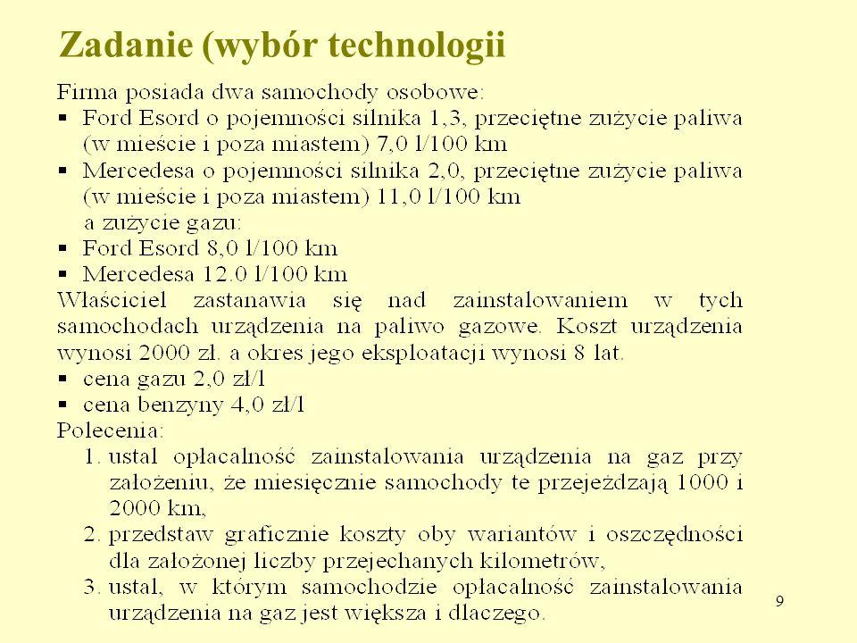 9 Zadanie (wybór technologii