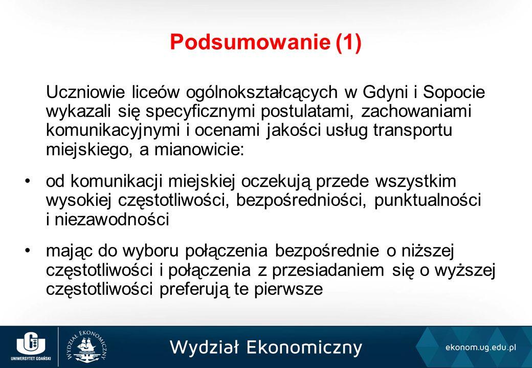 Uczniowie liceów ogólnokształcących w Gdyni i Sopocie wykazali się specyficznymi postulatami, zachowaniami komunikacyjnymi i ocenami jakości usług transportu miejskiego, a mianowicie: od komunikacji miejskiej oczekują przede wszystkim wysokiej częstotliwości, bezpośredniości, punktualności i niezawodności mając do wyboru połączenia bezpośrednie o niższej częstotliwości i połączenia z przesiadaniem się o wyższej częstotliwości preferują te pierwsze Podsumowanie (1)