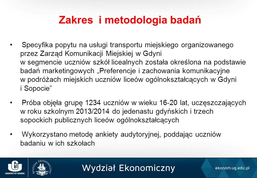 Liczba uczniów szkół ponadgimnazjalnych w Gdyni i Sopocie w roku szkolnym 2013/2014 roku wyniosła 13040 osób (odpowiednio 10803 uczniów w Gdyni i 2237 uczniów w Sopocie) Największy odsetek uczniów w obu miastach uczęszczał do liceów ogólnokształcących (46% w Gdyni i 59% w Sopocie) W liceach w Gdyni zostali zbadani uczniowie zamieszkujący 17 gmin, w Sopocie - 10 gmin W niemal 88% gospodarstw domowych licealistów występował przynajmniej jeden samochód osobowy Charakterystyka populacji