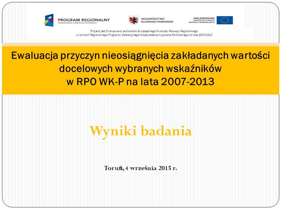 Liczba projektów z zakresu gospodarki odpadami (szt.) (wska ź nik produktu) Wyst ą piła niespójno ść w logice interwencji wdra ż ania RPO WK-P 2007-2013.