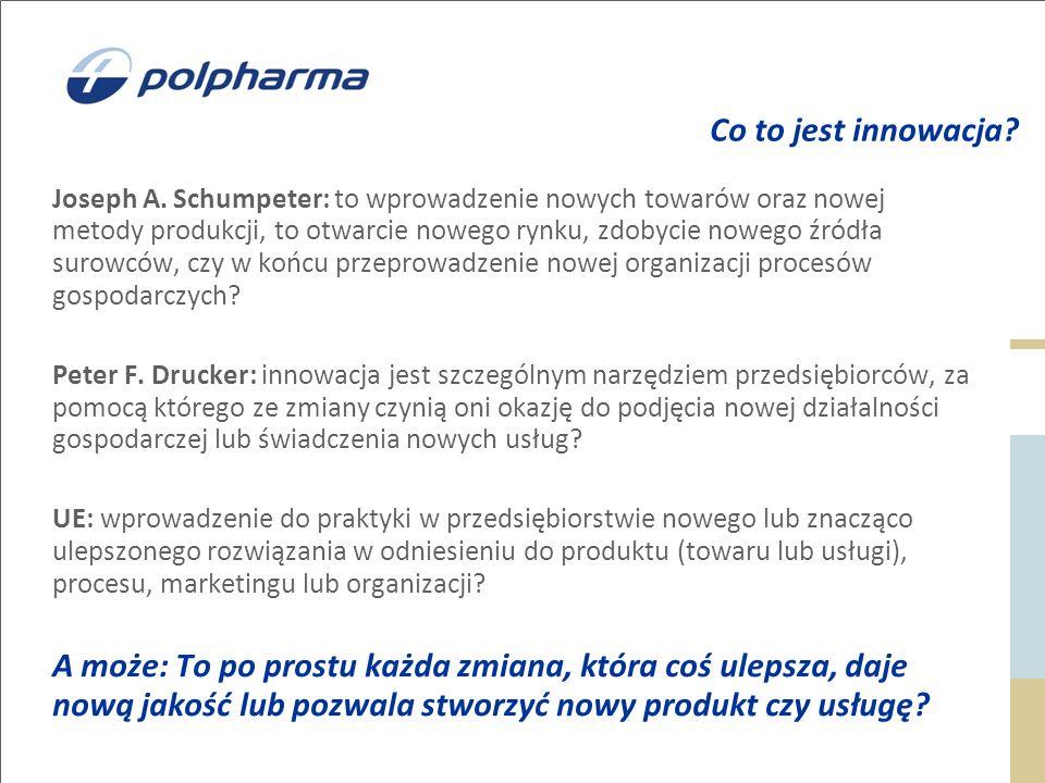 Co to jest innowacja? Joseph A. Schumpeter: to wprowadzenie nowych towarów oraz nowej metody produkcji, to otwarcie nowego rynku, zdobycie nowego źród