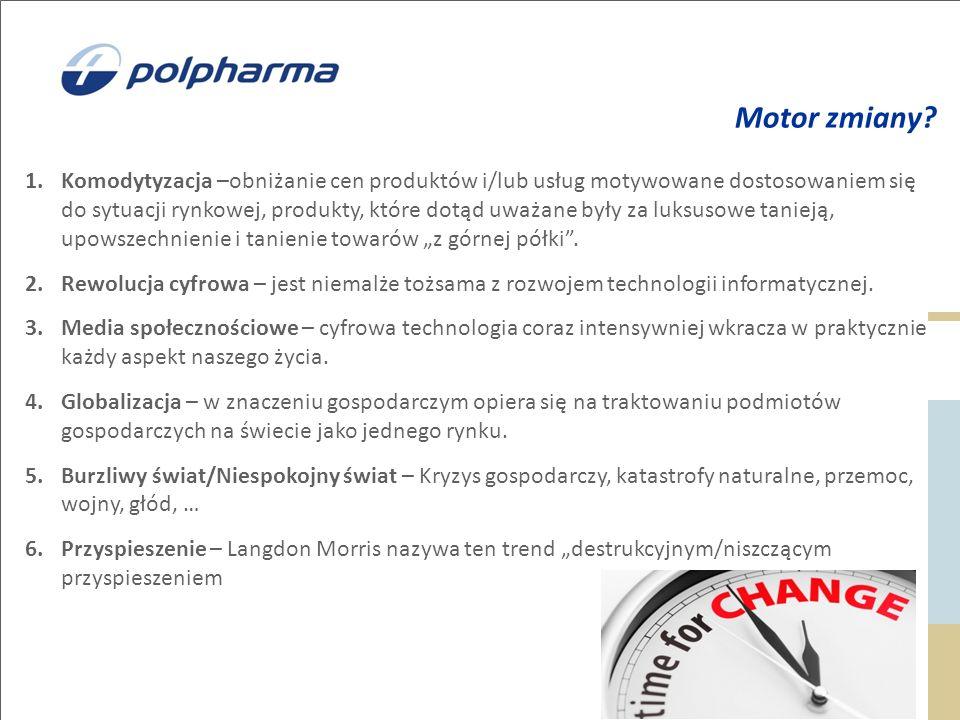 Motor zmiany? 1.Komodytyzacja –obniżanie cen produktów i/lub usług motywowane dostosowaniem się do sytuacji rynkowej, produkty, które dotąd uważane by