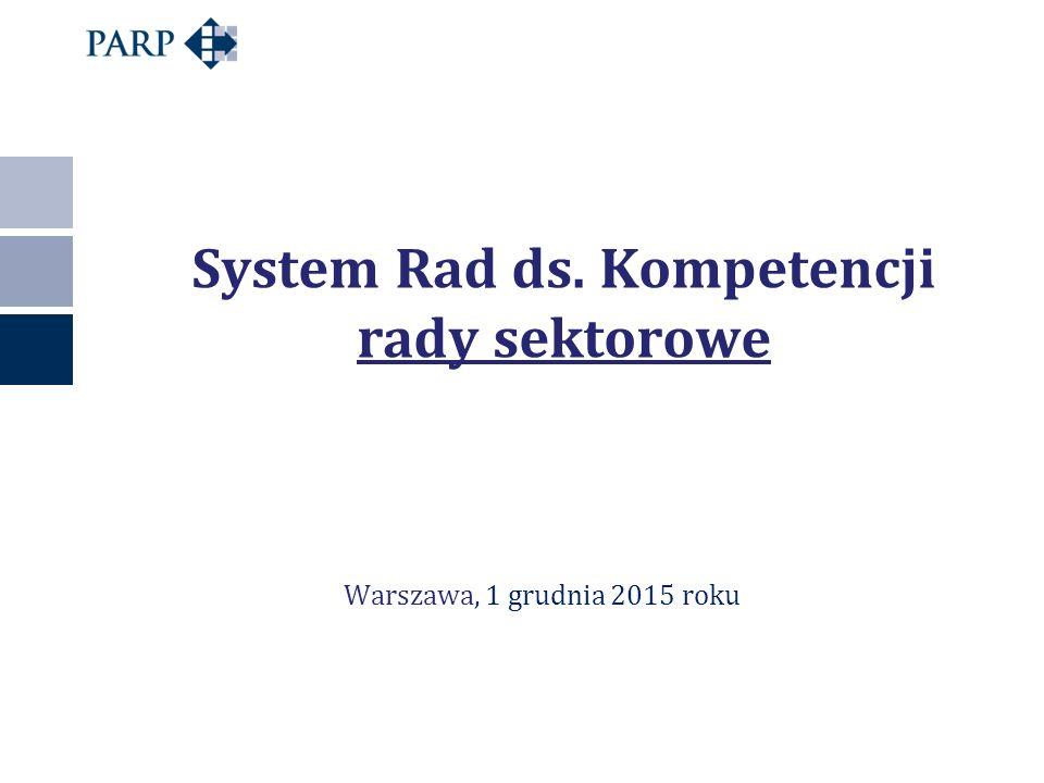 System Rad ds. Kompetencji rady sektorowe Warszawa, 1 grudnia 2015 roku