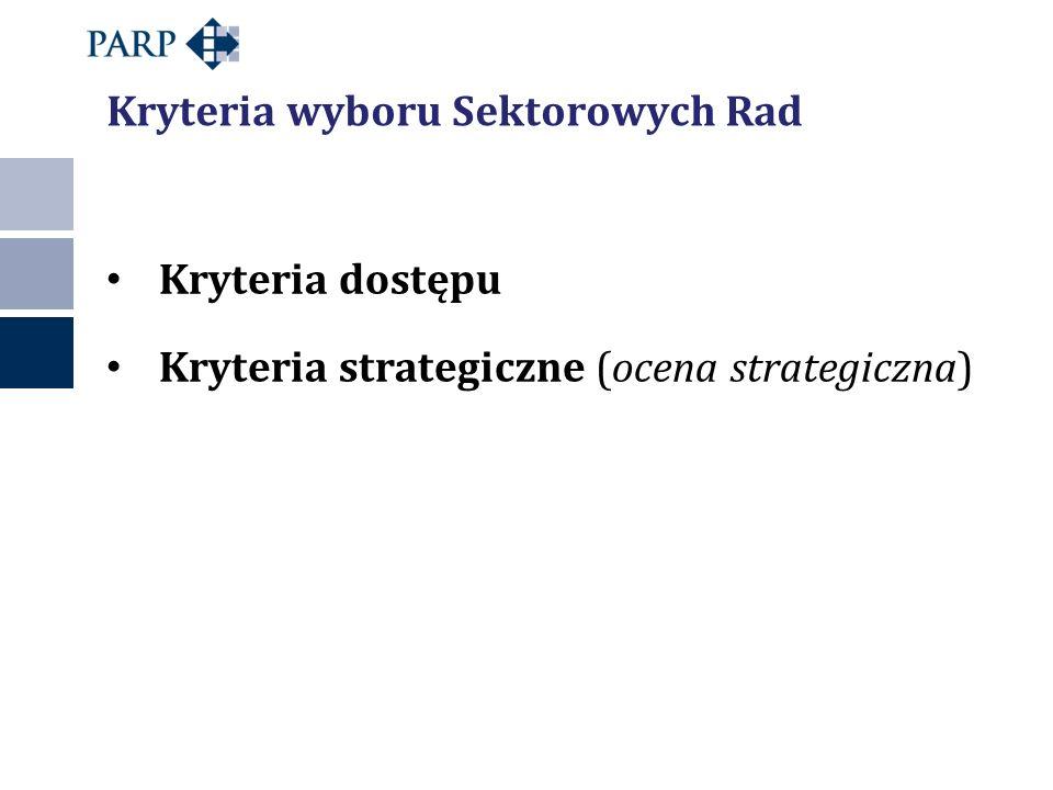 Kryteria dostępu Kryteria strategiczne (ocena strategiczna) Kryteria wyboru Sektorowych Rad