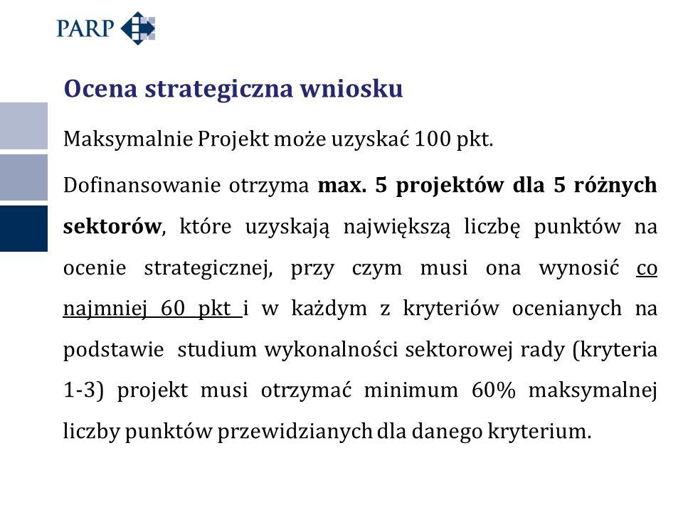 Maksymalnie Projekt może uzyskać 100 pkt. Dofinansowanie otrzyma max. 5 projektów dla 5 różnych sektorów, które uzyskają największą liczbę punktów na