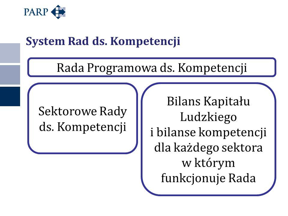Sektorowe Rady ds. Kompetencji Bilans Kapitału Ludzkiego i bilanse kompetencji dla każdego sektora w którym funkcjonuje Rada Rada Programowa ds. Kompe