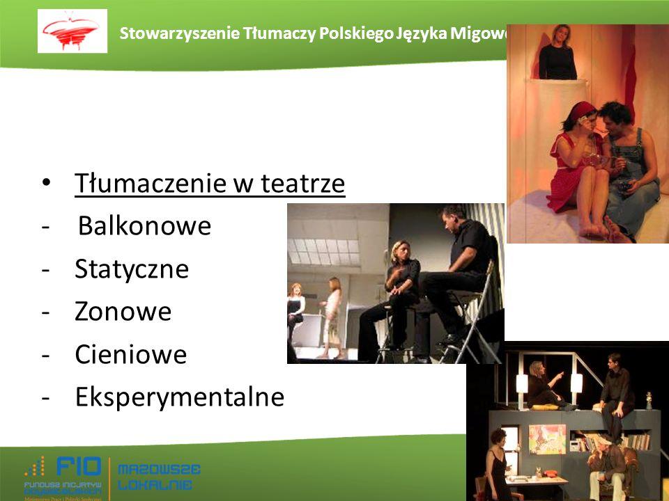 Stowarzyszenie Tłumaczy Polskiego Języka Migowego www.stpjm.org.pl Tłumaczenie w teatrze - Balkonowe -Statyczne -Zonowe -Cieniowe -Eksperymentalne
