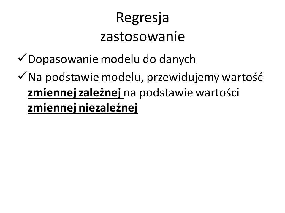 Regresja zastosowanie Dopasowanie modelu do danych Na podstawie modelu, przewidujemy wartość zmiennej zależnej na podstawie wartości zmiennej niezależnej