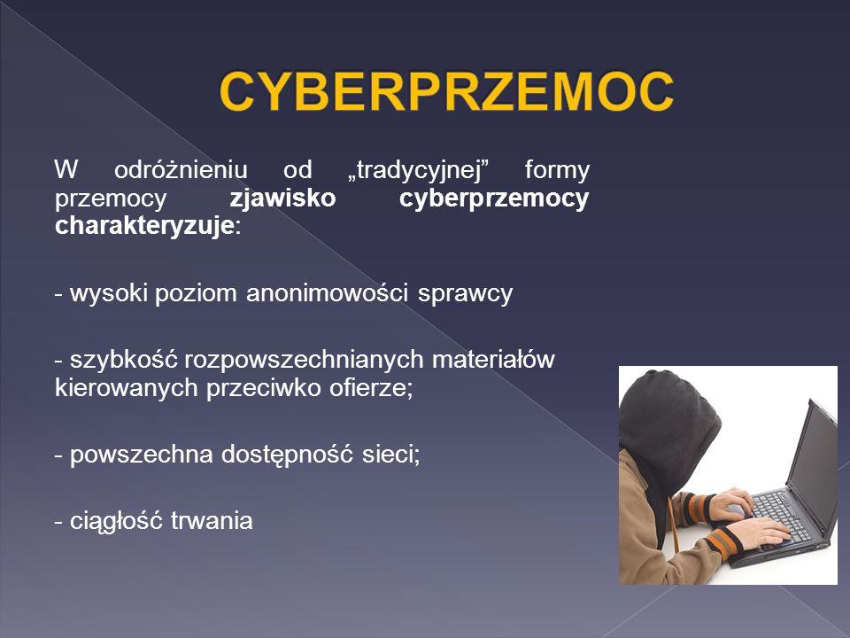 """W odróżnieniu od """"tradycyjnej formy przemocy zjawisko cyberprzemocy charakteryzuje: - wysoki poziom anonimowości sprawcy - szybkość rozpowszechnianych materiałów kierowanych przeciwko ofierze; - powszechna dostępność sieci; - ciągłość trwania"""