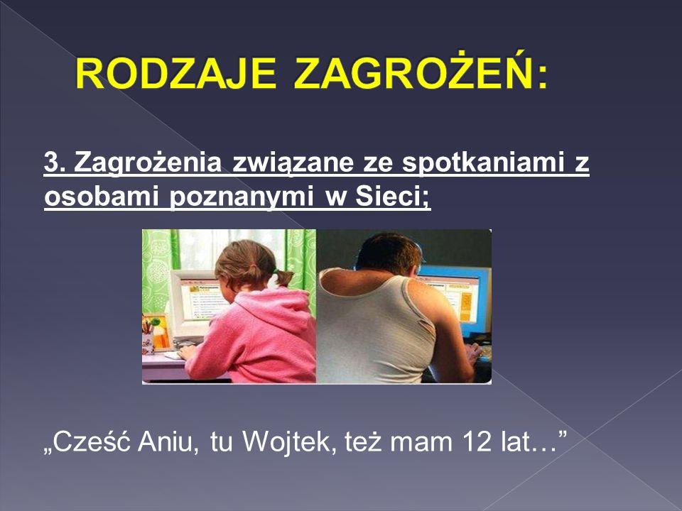 """3. Zagrożenia związane ze spotkaniami z osobami poznanymi w Sieci; """"Cześć Aniu, tu Wojtek, też mam 12 lat…"""""""