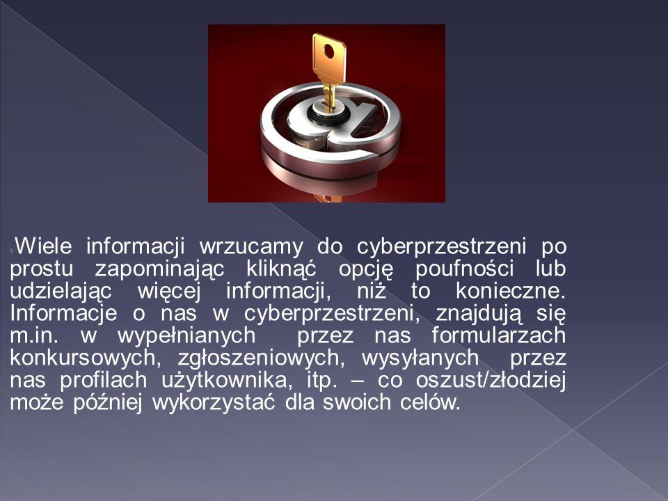  Wiele informacji wrzucamy do cyberprzestrzeni po prostu zapominając kliknąć opcję poufności lub udzielając więcej informacji, niż to konieczne. Info